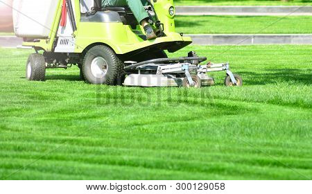 Exactly Trimmed Green Lawn. Green Grass Trimming With Professional Lawn Mower Machine.
