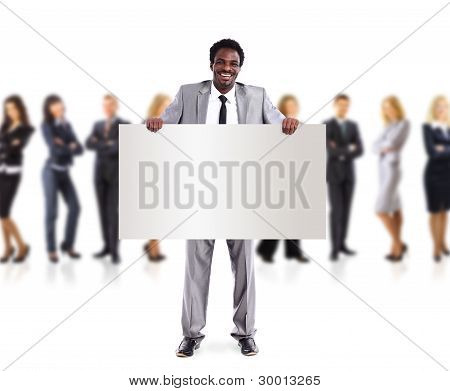 African business man and group holding a banner ad full length portrait isolated on white background