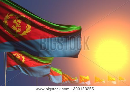 Beautiful Many Eritrea Flags On Sunset Placed Diagonal With Selective Focus And Place For Your Conte