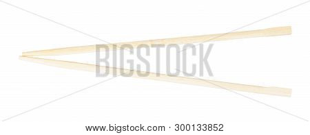 Cheap Disposable Wooden Chopsticks Isolated On White Background