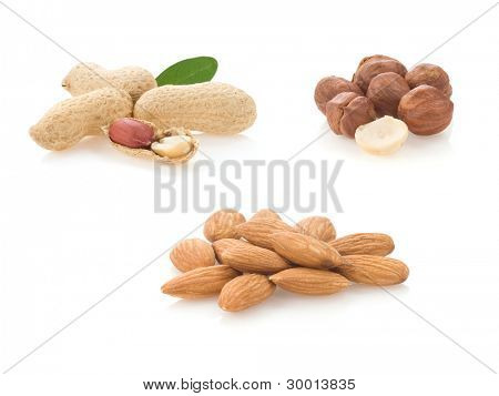 set of nuts isolated on white background
