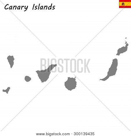 High Quality Map Autonomous Community Of Spain. Canary Islands