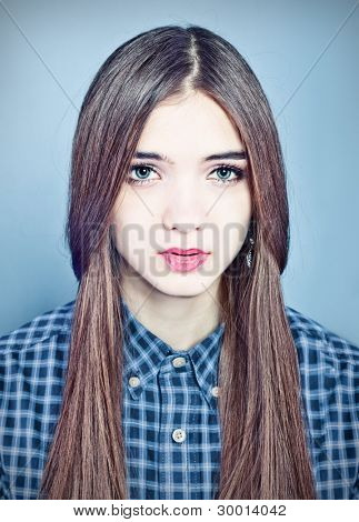 young beautiful woman studio portrait
