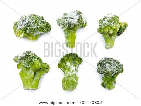 Frozen Broccoli Isolated On The White Background