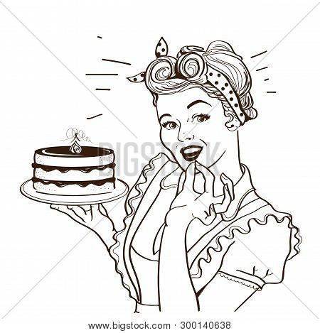Retro Smiling Housewife Holding Big Cake In Her Hands.vector Graphic Illustration