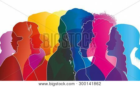 Abstract Vector Group Of Crowded People. Mob Of People. Confusion Of People. Multiple Colored Exposu