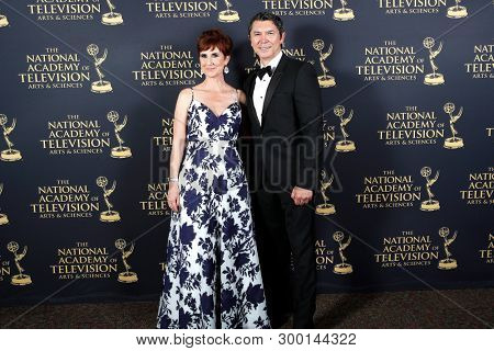 PASADENA - May 3: Anne Marie Cummings, Lou Diamond Phillips in the press room at the 46th Daytime Creative Arts Emmy Awards Gala at the Pasadena Civic Center on May 3, 2019 in Pasadena, CA