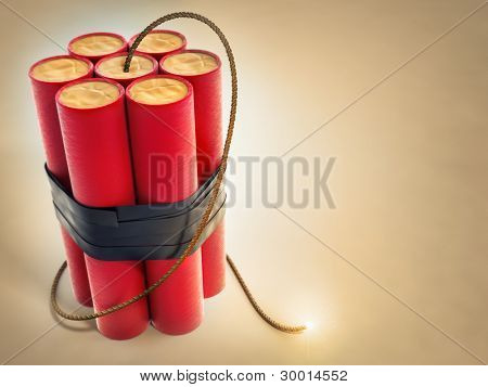 burning fuse with dynamite explosives 3d-illustration
