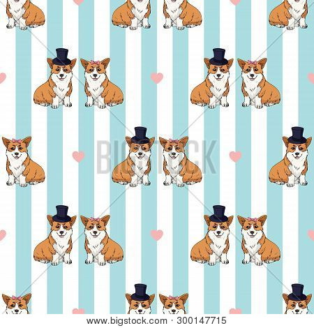 Seamless Pattern With A Couple Of Cute Cartoon Pembroke Welsh Corgi On Light Blue And White Striped
