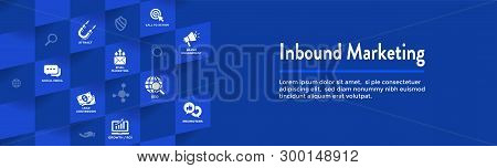 Digital Inbound Marketing Web Banner - Vector Icons With Cta, Growth, Seo, Etc