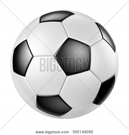 Classic Design Leather Soccer Ball Isolated On White Background. Traditional Black And White Footbal
