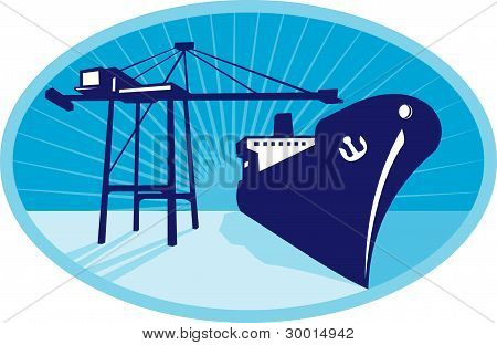 Container Boom Crane Loading Ship Boat