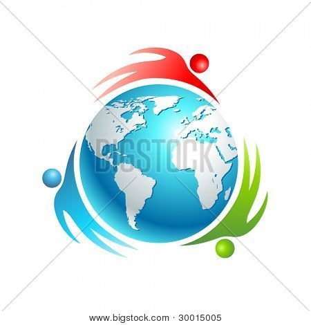 Social world icon. Concept vector. People rotating around Earth.