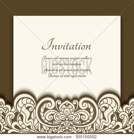 Cutout Paper Frame With Floral Border Pattern. Ornamental Vector Decoration. Vintage Greeting Card O