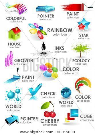 Design 3d color icon set. Design elements.