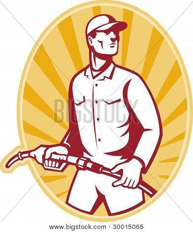 Gas Jockey With Petrol Pump Nozzle Retro