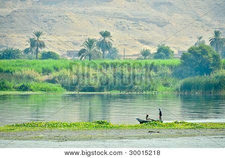 Fishermen on Nile river, Egypt