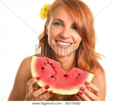 funny woman eating watermelon