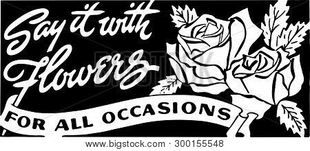 Say It With Flowers 3 - Retro Ad Art Banner