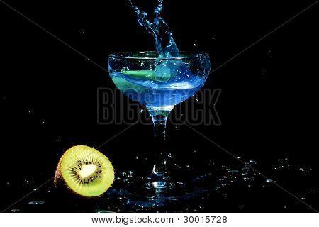 Blue cocktail splash with kiwi fruit