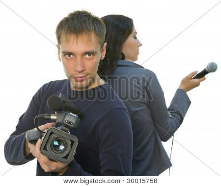 Tv Reporter And Teleoperator (focus On Face)