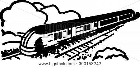 Train 2 - Retro Ad Art Illustration Depicting Railway Travel