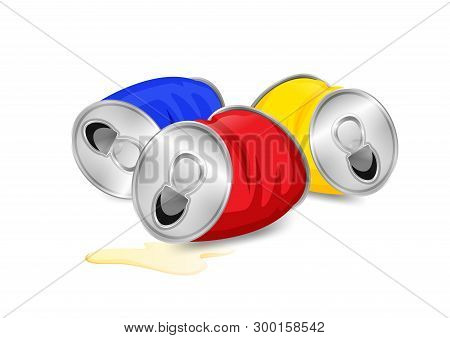 Aluminum Canned Waste, Canned Garbage Waste Red Blue And Yellow Colors Isolated On White Background,