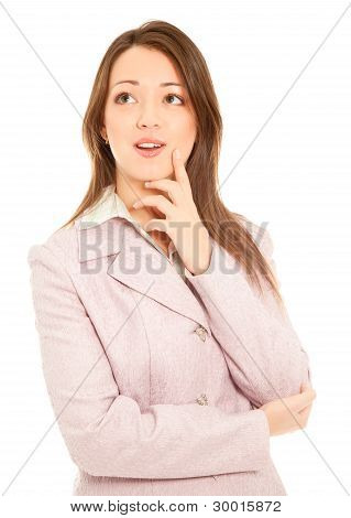 Businesswoman Standing Isolated On White