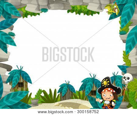 Cartoon Scene With Cavemen Territory And Pirate Captain Frame For Text - Illustration For The Childr