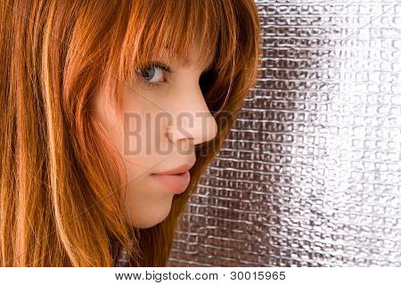 Portrait Of Beautiful Ginger-haired Woman