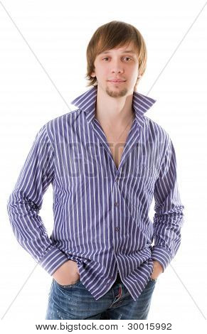 Beautiful Self-confident Man In Shirt Looking To The Camera