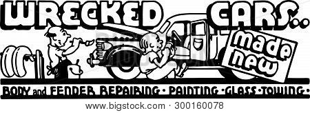Wrecked Cars - Retro Ad Art Banner