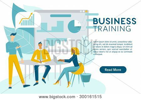 Business Training Concept Web Banner With The Place For Your Text. Business Meeting, Training Staff,