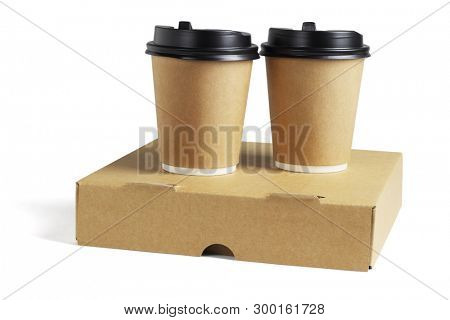 Coffee Cups and Pizza Box on White Background