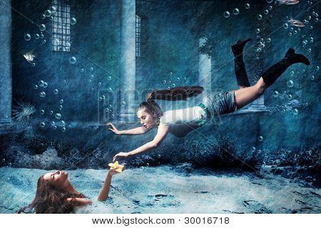 underwater fantasy scene, photo combined