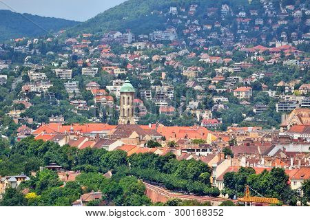 Budapest Castle Hill view with Church of Saint Mary Magdalene and Rozsadomb district. poster