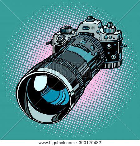 Camera With Telephoto Lens. Comic Cartoon Pop Art Vector Retro Vintage Drawing