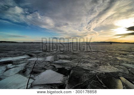 The Frozen Lake Champlain In Burlington, Vermont