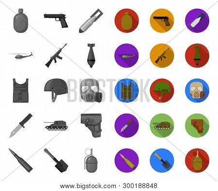 Army And Armament Mono, Flat Icons In Set Collection For Design. Weapons And Equipment Vector Symbol