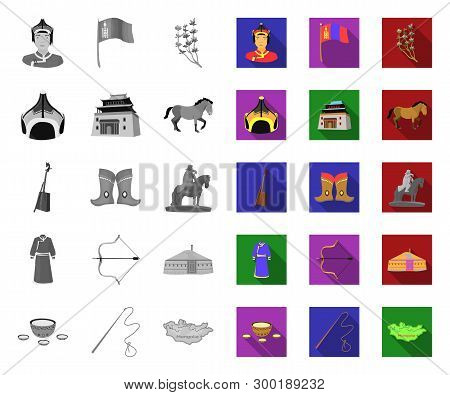 Country Mongolia Mono, Flat Icons In Set Collection For Design.territory And Landmark Vector Symbol