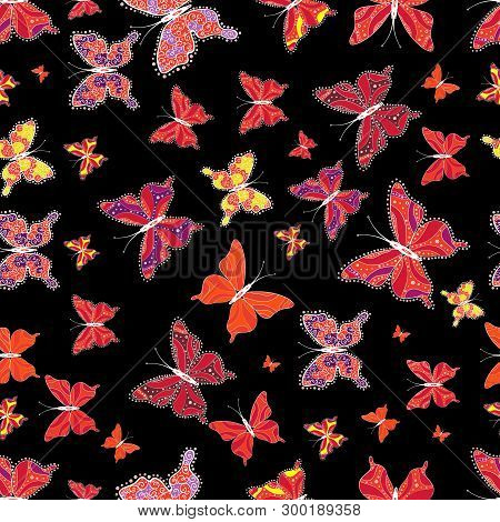 Vector Illustration. Seamless Of Different Multicolored Butterflies. Vector Butterflies For Design.