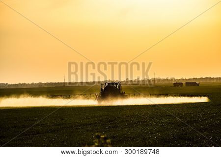 Tractor With The Help Of A Sprayer Sprays Liquid Fertilizers On Young Wheat In The Field. The Use Of
