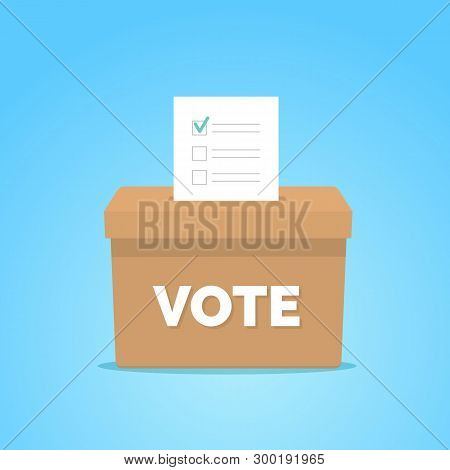 Presidential Election Day Vote Box. Checklist In Vote Box On Blue Background. Election Concept. Vect