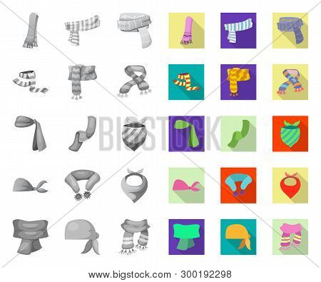 Vector Illustration Of Scarf And Shawl Sign. Set Of Scarf And Accessory Vector Icon For Stock.