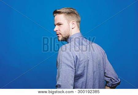 poster of Barber and beard care. Beard grooming salon. Barber salon. Beard grooming. Get ready for date. Hipster denim shirt looks attractive blue background. Man well groomed beard. Well groomed macho