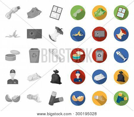 Garbage And Waste Mono, Flat Icons In Set Collection For Design. Cleaning Garbage Vector Symbol Stoc