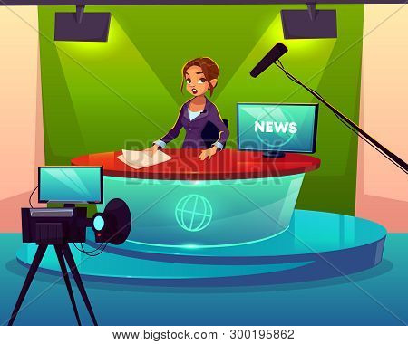 Anchorwoman In Television Chanel Studio Cartoon Vector. Female Presenter Sitting At Desk During Broa
