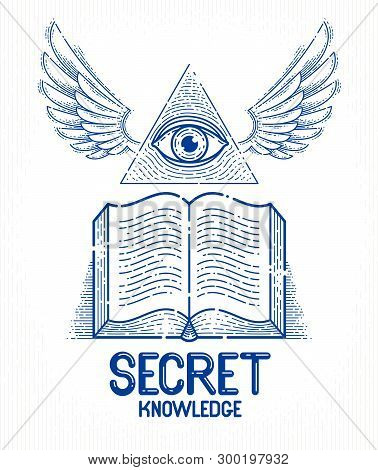 Secret Knowledge Vintage Open Winged Book With All Seeing Eye Of God In Sacred Geometry Triangle, Ma