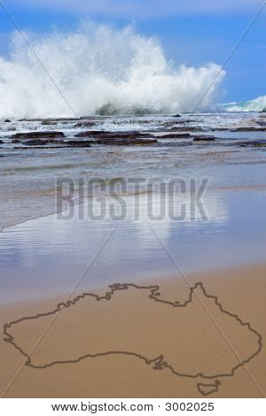 Beach And Surf In Australia On Sunny Day