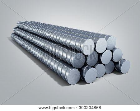 Reinforcement Steel Bar Steel Building Armature 3d Illustration On Grey Gradient Background